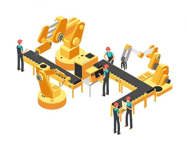Linha de produção de transportadores indústria automotiva e conceito de vetor isométrica de controle de automação