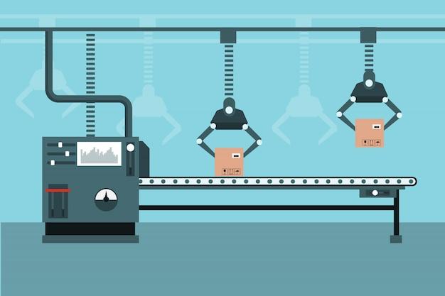 Linha de produção industrial automatizada
