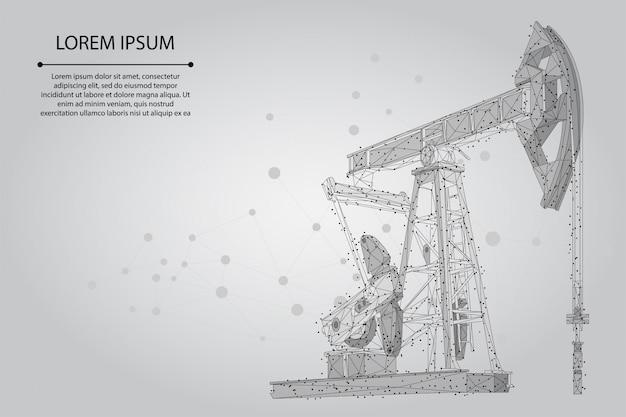 Linha de purê abstrata e equipamento de poço de petróleo de ponto. torres de pumpjack da indústria de combustível de petróleo de baixo poli que bombeiam o ponto de perfuração