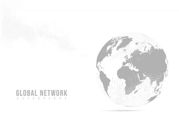 Linha de purê abstrata e escalas de ponto com o globo da terra. armação de arame linha de rede poligonal de malha 3d, esfera de design, pontos e estrutura.