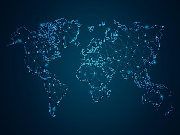 Linha de purê abstrata e escalas de ponto em fundo escuro com mapa mundo. armação de arame linha de rede poligonal de malha 3d, esfera de design, pontos e estrutura.