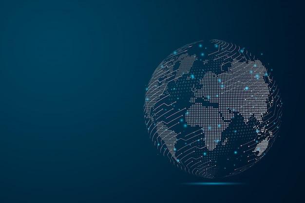 Linha de purê abstrata e escalas de ponto em fundo escuro com mapa mundo representando o global. armação de arame linha de rede poligonal de malha 3d, esfera de design, pontos e estrutura.