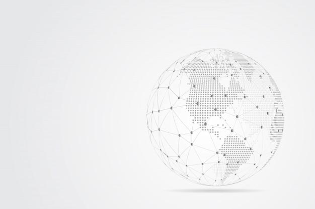 Linha de purê abstrata e escalas de pontos com global. armação de arame linha de rede poligonal de malha 3d, esfera de design, pontos e estrutura.