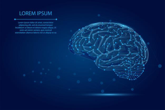 Linha de purê abstrata e ponto cérebro humano. rede neural de baixo poli