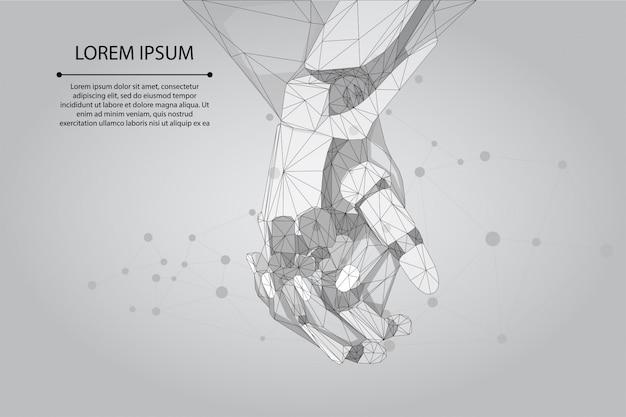 Linha de purê abstrata e ponto humano e robô mãos juntas. futuro negócio tecnológico. inteligência artificial de baixo poli