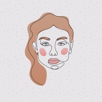 Linha de rosto de mulher com cabelo rosa