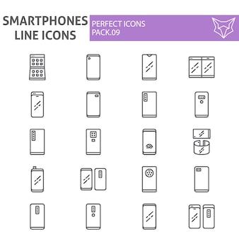Linha de smartphones conjunto de ícones, coleção de comunicação
