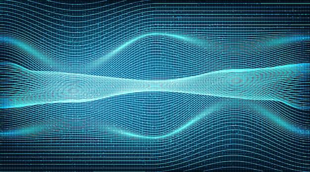 Linha de tecnologia de onda sonora no futuro, conceito digital e conexão.