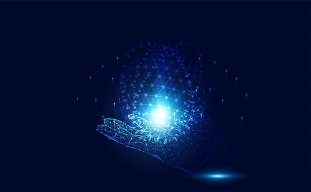 Linha de tecnologia wireframe mão e mundo