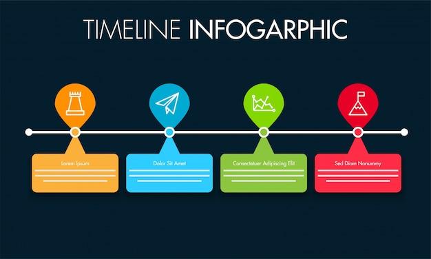 Linha de tempo colorido do catálogo de linhas de texto com 4 etapas.