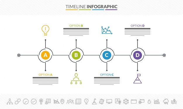 Linha de tempo do roadmap colorido disposição de infografia com 4 etapas e ícones definidos.