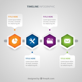 Linha de tempo moderna com estilo geométrico