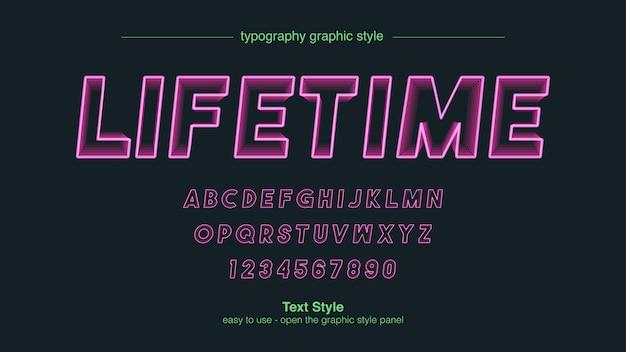 Linha de traço de néon rosa mistura tipografia