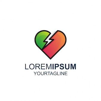 Linha de trovão de amor e logotipo de inspiração impressionante de cor