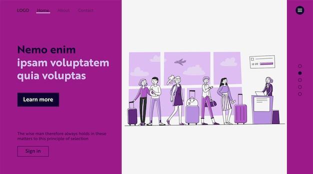 Linha de turistas no aeroporto de check-in no balcão