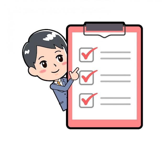 Linha de verificação lista de verificação de businessman_pointing