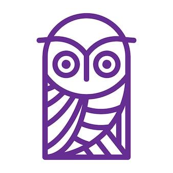 Linha de vetor de design de logotipo de coruja simples e criativa