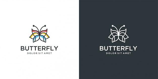 Linha de vetor minimalista logotipo borboleta