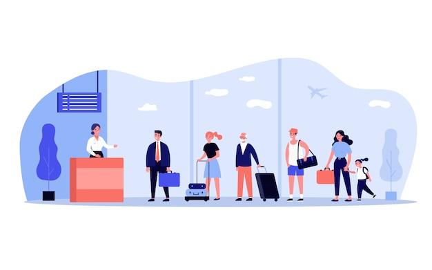 Linha de viajantes no balcão de check-in no aeroporto