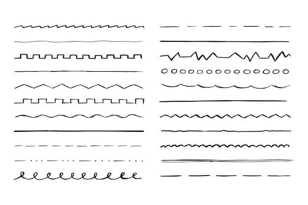 Linha desenhada à mão conjunto esboço rabisco