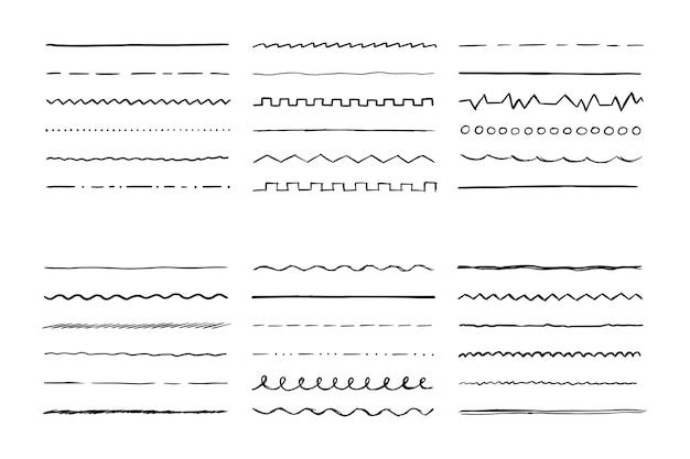 Linha desenhada à mão definida para pincel