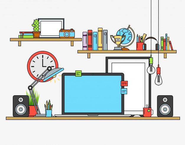 Linha design plano mock-se do espaço de trabalho moderno