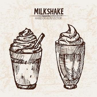 Linha detalhada milkshake de arte com chantilly