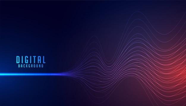 Linha digital abstrata fio onda tecnologia fundo