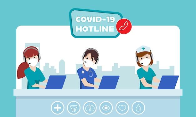 Linha direta do trabalhador de emergência do call center para ajudar e apoiar o paciente durante a doença covid19