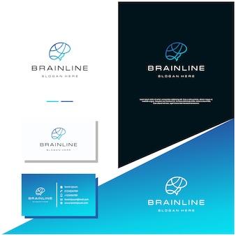 Linha do cérebro logo design stock, com design de cartão de visita.