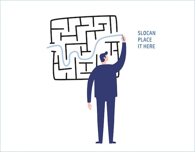 Linha do desenho do homem de negócios através do labirinto ou do labirinto.