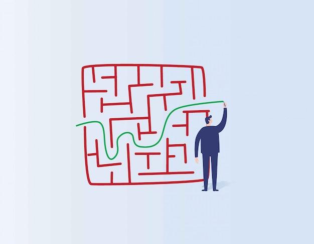Linha do desenho do homem de negócios do conceito da solução e do negócio do sucesso através do labirinto ou do labirinto.