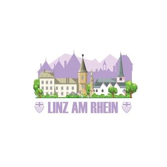 Linha do horizonte da cidade de linz am rhein com monumentos da cidade, arquitetura e brasão de armas da cidade.