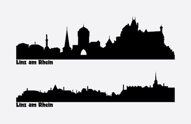 Linha do horizonte de duas vistas da cidade na alemanha, linz am rhein.