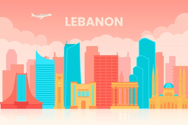 Linha do horizonte plana do líbano ilustrada
