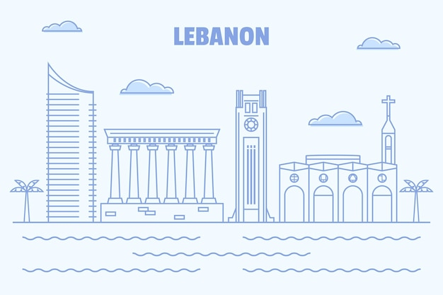 Linha do horizonte plana e linear do líbano