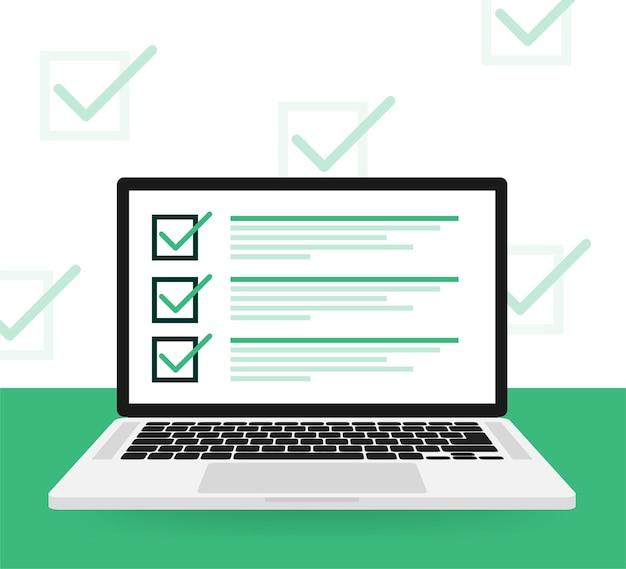 Linha do laptop de pesquisa plana no verde
