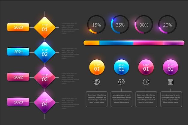 Linha do tempo brilhante no design realista