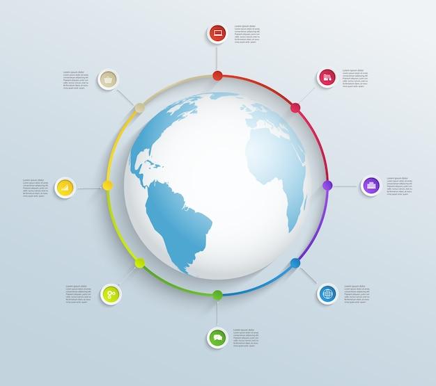 Linha do tempo circular com mapa-múndi e ícones de negócios.