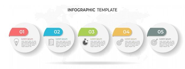 Linha do tempo círculo infográfico modelo 5 opções ou etapas.