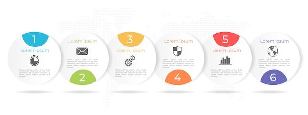 Linha do tempo círculo infográfico modelo 6 opções ou etapas.
