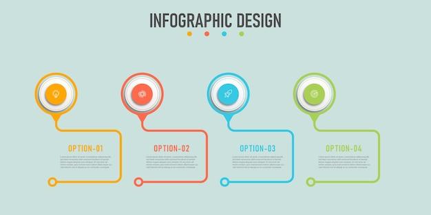 Linha do tempo com modelo de gráficos de informações de negócios de 4 etapas