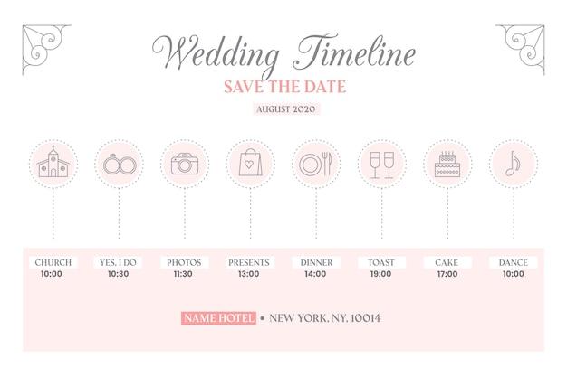 Linha do tempo do casamento em estilo linear