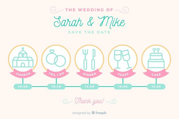Linha do tempo do casamento no design linear