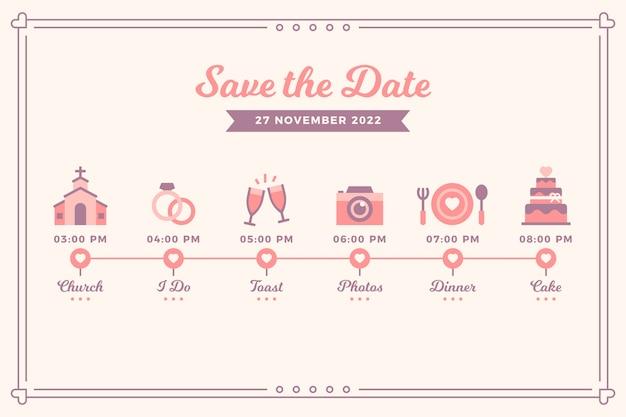 Linha do tempo do casamento rosa em estilo linear