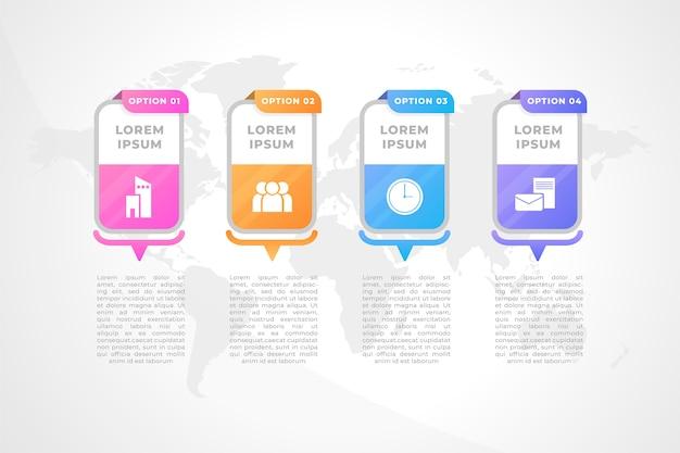 Linha do tempo do infográfico em estilo gradiente
