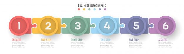 Linha do tempo do processo de negócios infográficos com 6 etapas.