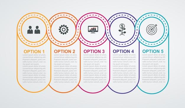 Linha do tempo dos círculos com 5 etapas. infografia de negócios.
