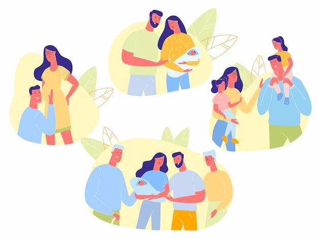 Linha do tempo em família feliz, gravidez, gerações