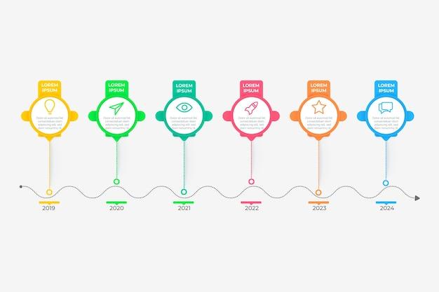 Linha do tempo gradiente infográfico